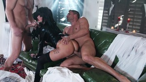 lesbian anal black dildo